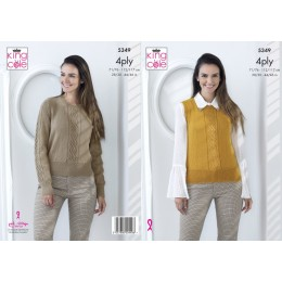 KC5349 Ladies Top and Sweater in King Cole Merino 4 Ply