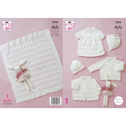 KC5358 Babies Matinee Jacket, Cardigan, Dress, Hat, Bonnet and Blanket in King Cole 4 Ply