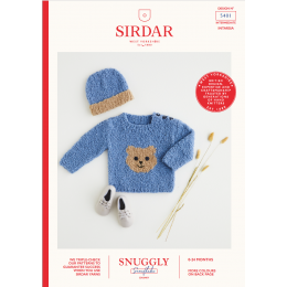 S5401 Teddy Bear Sweater & Hat for Babies in Sirdar Snuggly Snowflake Chunky