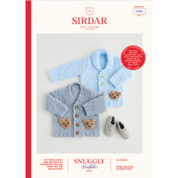 S5404 Baby Teddy Bear Cardigans in Sirdar Snuggly Snowflake Chunky