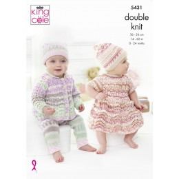KC5431 Babies Dress, Cardigan, Leggings and Hat in Cherish DK and Cherished DK