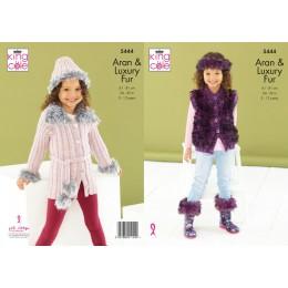 KC5444 Girl's Jacket, Gilet, Boot Toppers, Hat & Headband in King Cole Fashion Aran & Luxury Fur