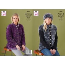 KC5445 Women's Jackets & Headbands in King Cole Fashion Aran & Luxury Fur