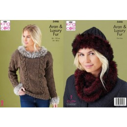 KC5446 Women's Sweater, Cowl & Hat in King Cole Fashion Aran & Luxury Fur