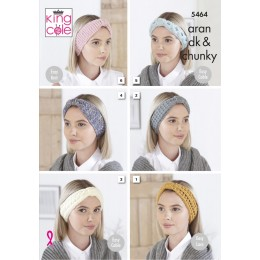 KC5464 Ladies Headbands in King Cole DK, Aran or Chunky