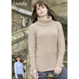 TRW5518 Ladies Cabled Polo Neck Sweater in Wendy Mode DK