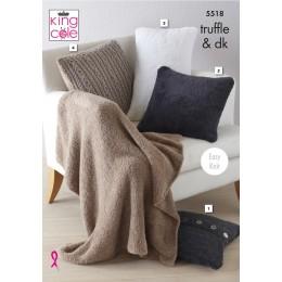 KC5518 Cushions & Lap Blanket in King Cole Truffle & Merino Blend DK