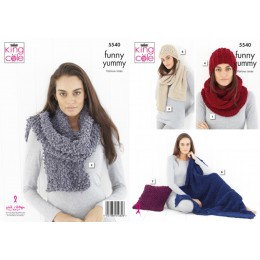 KC5540 Cowl, Scarf, Wrap, Hats, Blanket & Cushion in King Cole Yummy