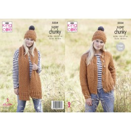 KC5554 Ladies Cardigan, Scarf & Hat in King Cole Big Value Super Chunky Stormy