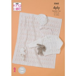 KC5562 Babies Cardigan, Bonnet, Bootees & Blanket in King Cole Big Value 4Ply