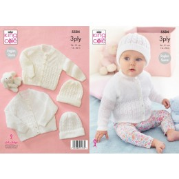 KC5584 Baby's Cardigan & Hat in King Cole Big Value Baby 3Ply