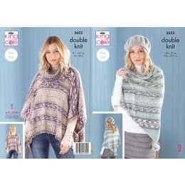 KC5652 Ladies Poncho, Snood & Shawl in King Cole Fjord DK
