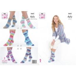 KC5662 Ladies Socks & Triangular Wrap in King Cole Summer 4Ply