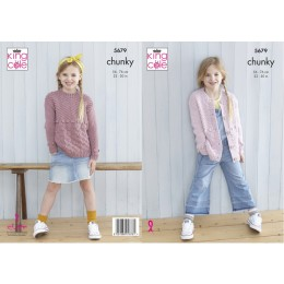 KC5679 Girl's Sweater & Cardigan in King Cole Subtle Drifter Chunky