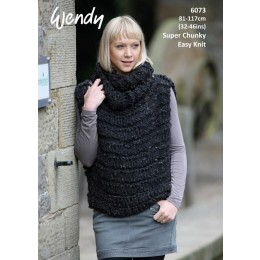 TRW6073 Ladies Tunic & Cowl in Wendy Harris Super Chunky