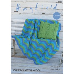 S8022 Crochet Cushion and Thrown in Hayfield Chunky with Wool