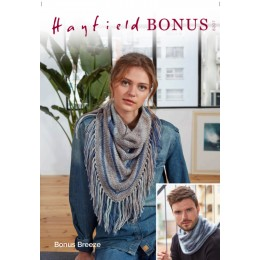 S8207 Striped Snood & Fringed Shawl in Hayfield Bonus Breeze DK