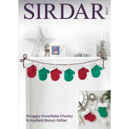 S8217 Christmas Decorations in Hayfield Bonus Glitter DK & Sirdar Snuggly Snowflake Chunky