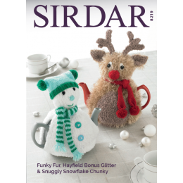 S8219 Tea Cosies in Sirdar Snuggly Snowflake Chunky, Funky Fur & Hayfield Bonus Glitter DK
