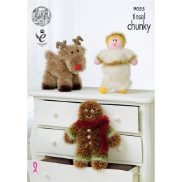 KC9055 Reindeer, Angel and Gingerbread Man in King Cole Tinsel Chunky