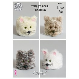 KC9070 Animal Head Toilet Roll Holders in King Cole Luxe Fur