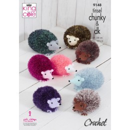KC9148 Small, Medium & Large Hedgehogs Crocheted in King Cole Tinsel Chunky & Dollymix DK