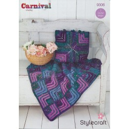ST9306 Mitred Square Throw and Cushion in Stylecraft Carnival Chunky & Special Aran