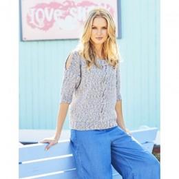 St9616 Ladies Sweater and Cardigan in Monet Aran