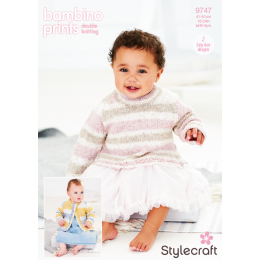 ST9747 Jumper & Cardigan for Babies in Stylecraft Bambino Prints DK