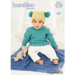 ST9761 Baby / Child's Sweater, Hat & Blanket in Stylecraft Bambino DK
