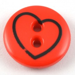 Black Line Drawn Heart Button in Red