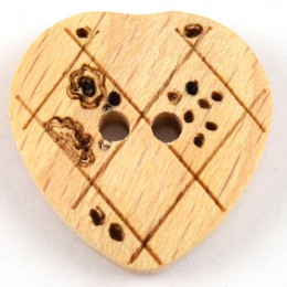 Crosshatch and Flower Wooden Heart Button