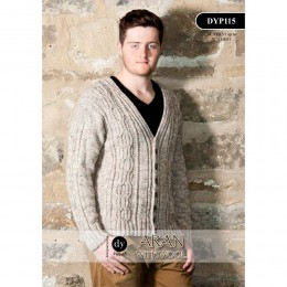 DYP115 Man's Cardigan Aran with Wool