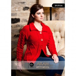 DYP116 Ladies Cardigan Aran with Wool