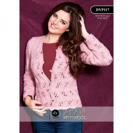 DYP117 Ladies Cardigan Aran with Wool