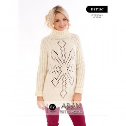 DYP167 Ladies Christmas Jumper Aran with Wool