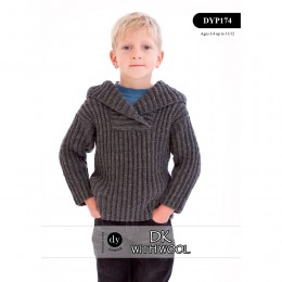 DYP174 Children's Hooded Jumper DK with Wool