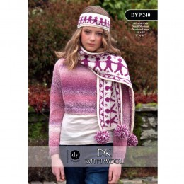 DYP 240 Ladies Scarf and Headband DK with Wool