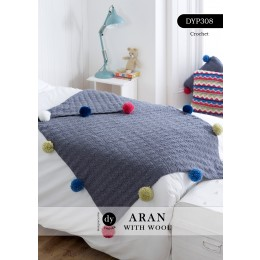 DYP308 Crochet Blanket with Pompoms in DY Choice Aran with Wool