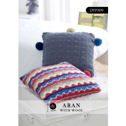 DYP309 Crochet Cushion set in DY Choice Aran with Wool