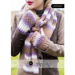 DYP338 Mittens and Scarf for Women in DY Choice Apollo