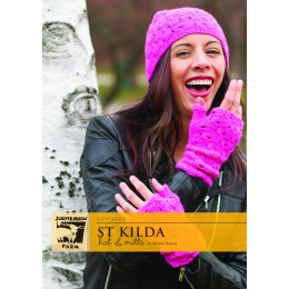 J31-03 St Kilda Hat and Mitts for Women in Cumulus