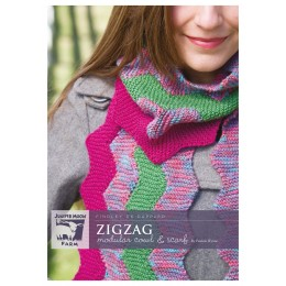 J38-01 Zig Zag Modular Cowl and Scarf for Women in Findley DK Dappled