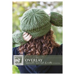 J38-02 Overlay Reversible Hat and Mitts for Women in Findley DK Dappled
