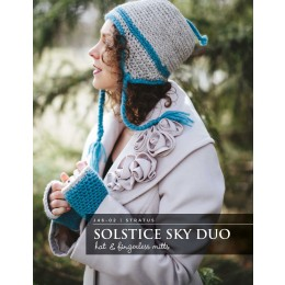 J46-02 Crochet Solstice Sky Duo Hat and Fingerless Mitts for Women in Stratus