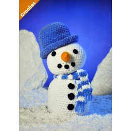 JB406 Crochet Snowman in James C Brett Flutterby