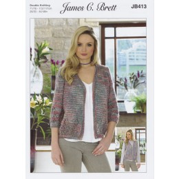 JB413 Cardigan for Women in James C Brett Stonewash DK