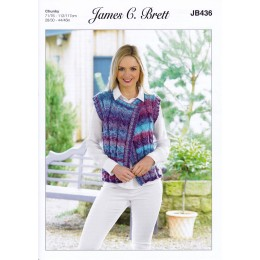 JB436 Waistcoat for Women in James C Brett Marble Chunky