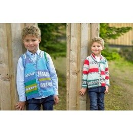 JB485 Boy's Waistcoat & Cardigan in James C Brett Fairground DK