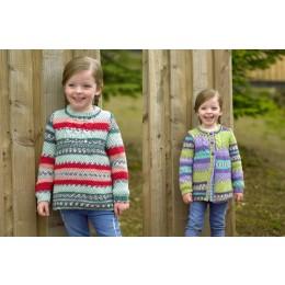 JB488 Girl's Sweater & Cardigan in James C Brett Fairground DK
